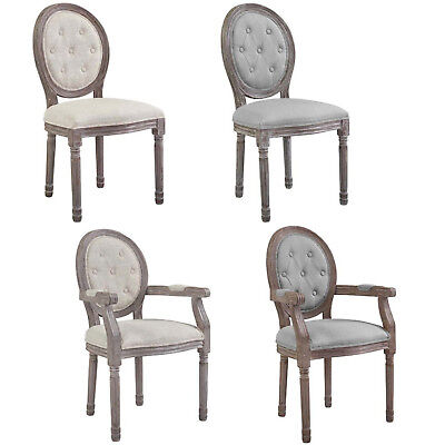 French Dining Chair Louis XVI Style Gray Beige Padded Button Tufted Arm Or Side