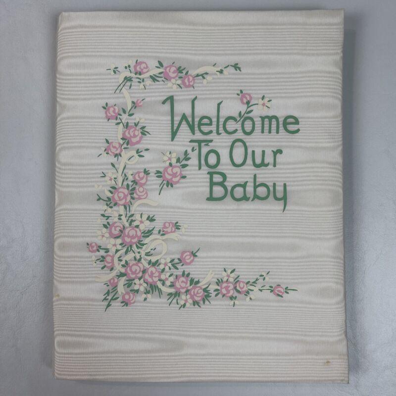 Vtg Keepsake Baby Record Book White Satin Padded 1950's Original Box Unused