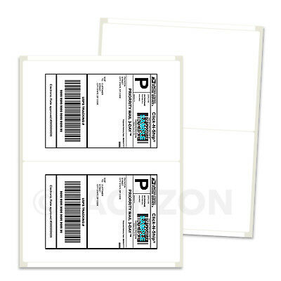 500 Shipping Labels 8.5x5.5 Rounded Corner Self Adhesive 2 Per Sheet Packzon