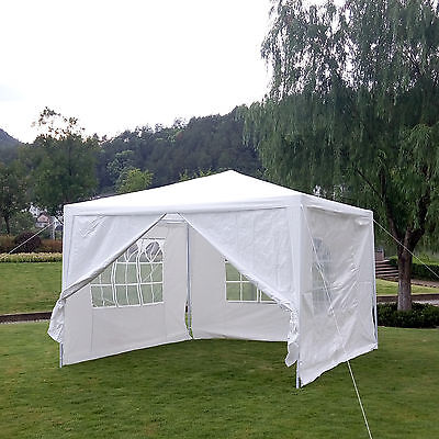 Outdoor Canopy Party Wedding Tent White Gazebo Sunshade /4 Side Walls 10'x10'