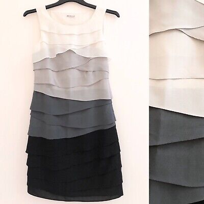 M&S Autograph Dress 10 Grey Black Tiered Flapper Formal Wedding Party Summer