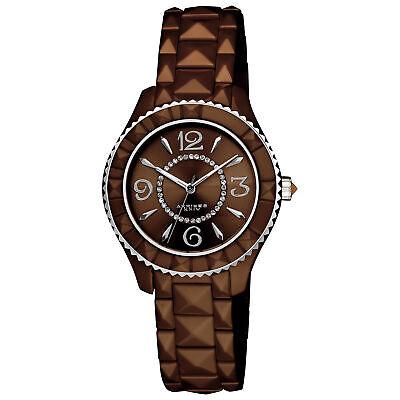 New Women's Akribos XXIV AK533BR All Brown Ceramic Pavé Pattern Dial Watch
