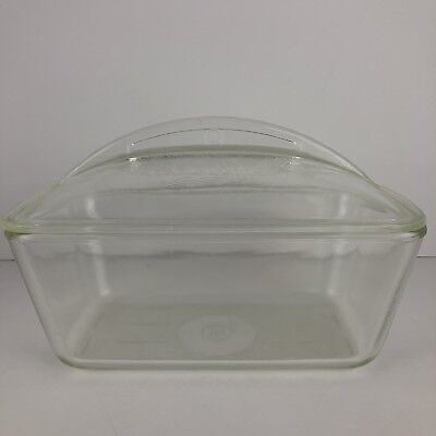 Vintage W Westinghouse Meat Loaf Clear Glass Refrigerator Dish Pan Domed Lid