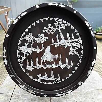 ORIENTAL BLACK LAQUERED TRAY WITH MOTHER OF PEARL INLAY