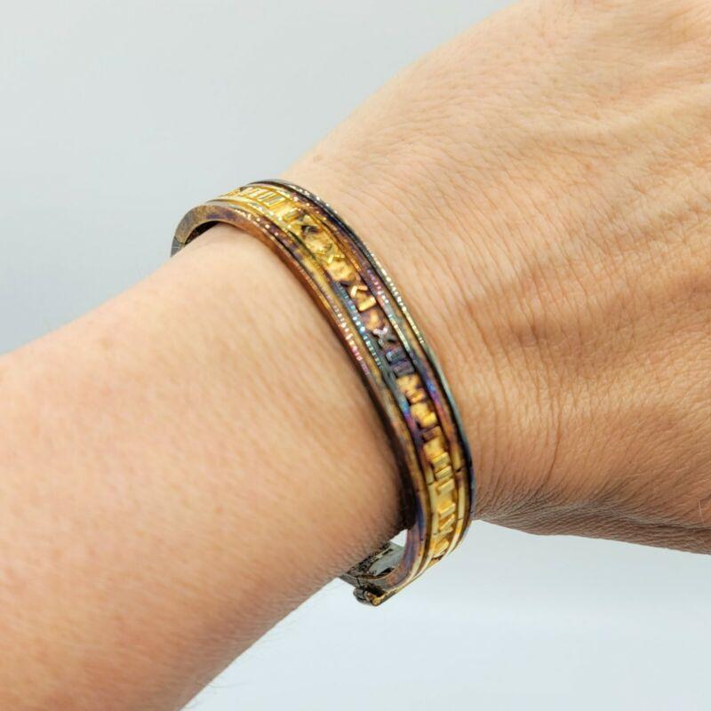 VINTAGE BRACELET VERMEIL STERLING SILVER ROMAN NUMERAL 34g 925 Jewelry