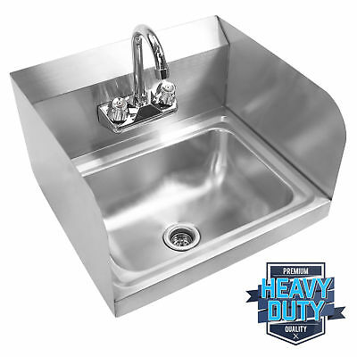 Wall Mounted Stainless Steel Sides Cover Hand Washing Sink With Gooseneck Faucet