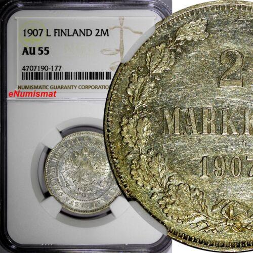 Finland Nicholas II Silver 1907 L 2 Markkaa NGC AU55 Mintage-125,000 KM# 7.2