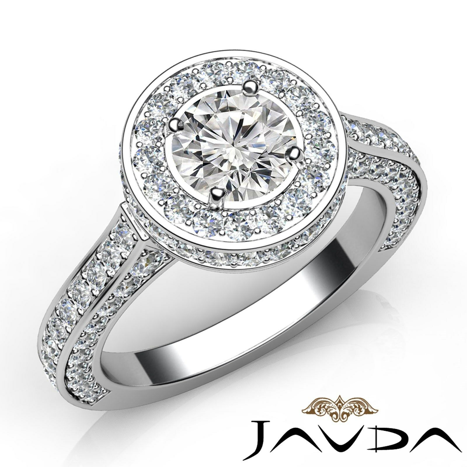 Circa Halo Filigree Round Diamond Engagement Ring GIA I Color VS2 Clarity 3.1Ct