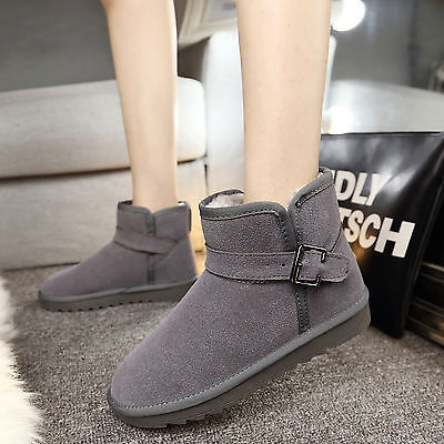 Classic Short Grey Woman Winter Snow Boots Flat Ankle Best Christmas Gift 4