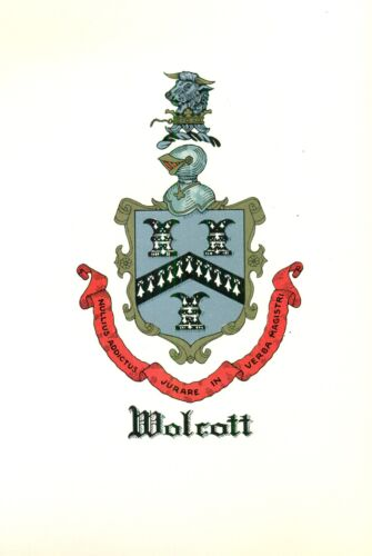 Great Coat of Arms Wolcott Family Crest genealogy, would look great framed!