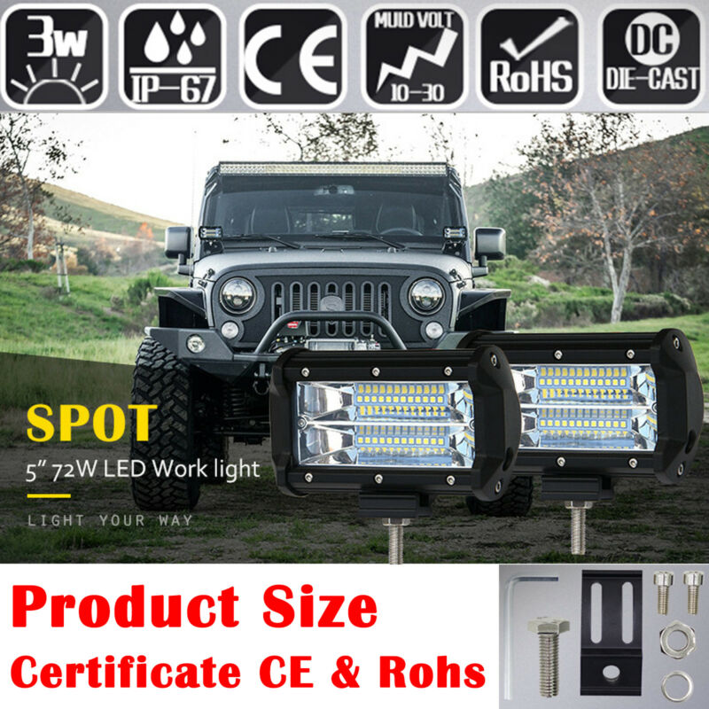 5/'/'Inch 72W CREE LED Work Spot Light Bar Car Flood Offroad Fog Lamp For Jeep new