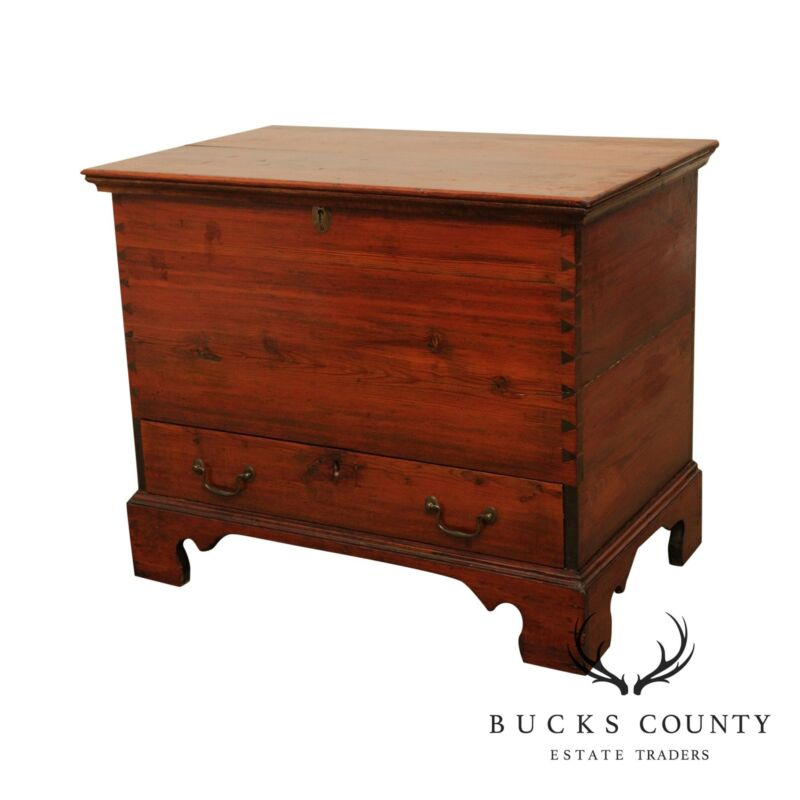 Antique 19th Century Country Pine Chippendale Dovetailed Blanket Chest