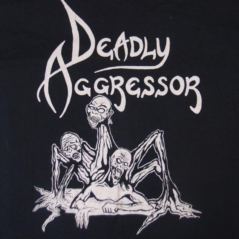 DEADLY AGGRESSOR: Vintage Maryland 1988 Heavy Metal Punk T-Shirt XL