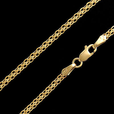 """24"""" Bismark Link Hollow Chain 14k Solid Yellow Gold Unisex Necklace 2.5mm Thick"""