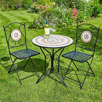 Garden Furniture - Mosaic Bistro Set Outdoor Patio Garden Furniture Table and 2 Chairs Metal Frame