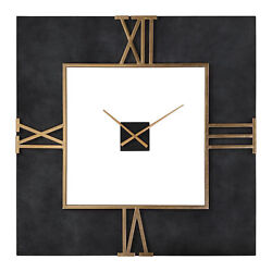 Oversize Black Concrete Square Wall Clock|Gold Open Mid Century Modern