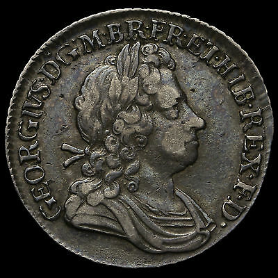 1723 George I Early Milled Silver SSC Shilling