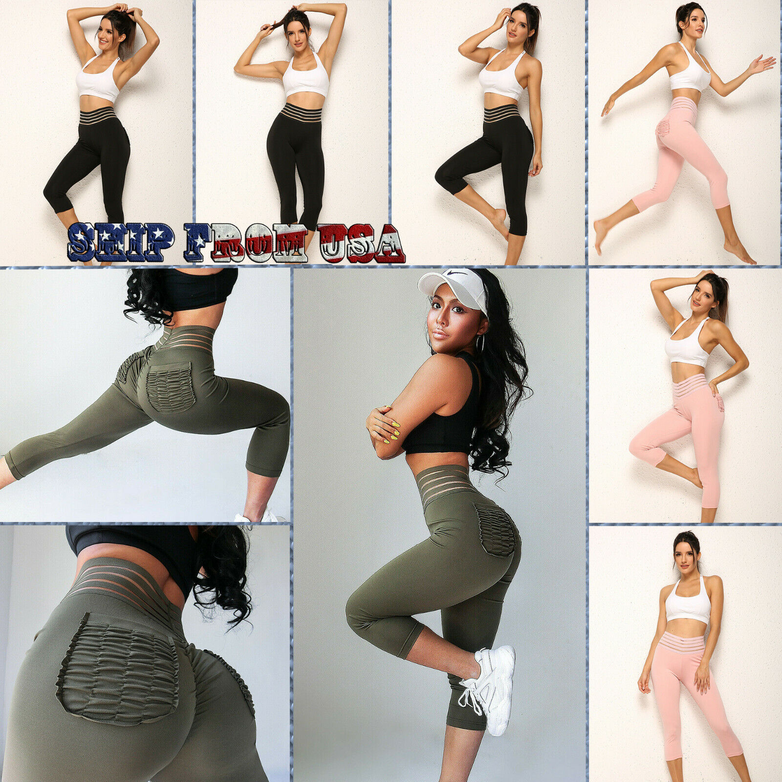 Women Fitness Leggings w/Back Pockets Hot Pilate Yoga Gym Pants Workout Trousers Clothing & Accessories
