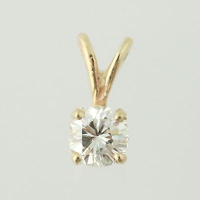 Diamond Solitaire Pendant - 14k Yellow Gold April Basket Mount -