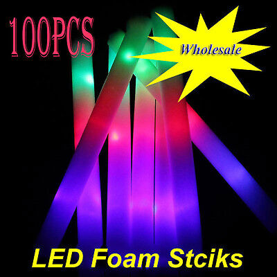 100p Light Up LED Foam Sticks Wand Rally Rave Baton DJ Party Flashing Glow - Led Glowstick