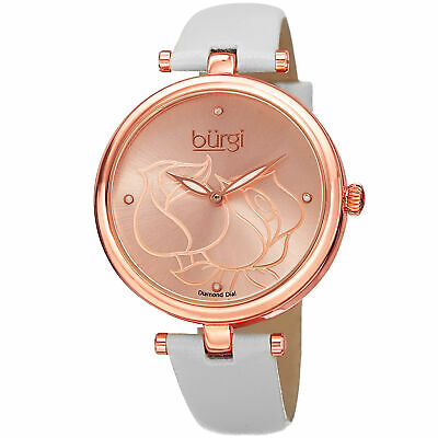 Women's Burgi BUR151WTR Flower Engraved Diamond Dial Genuine Leather Strap Watch