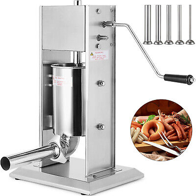 5l Sausage Filler Stuffer Silver Vertical Commerical With 4 Funnels Professional