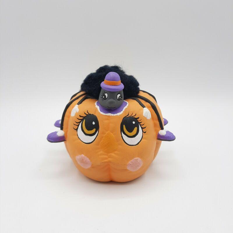 Vtg 1987 Hobbyist Halloween Ceramic Anthropomorphic Pumpkin and Spider Figurine