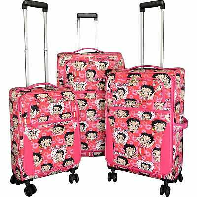 Betty Boop Pink 3-piece Expandable Spinner Luggage Set - 28