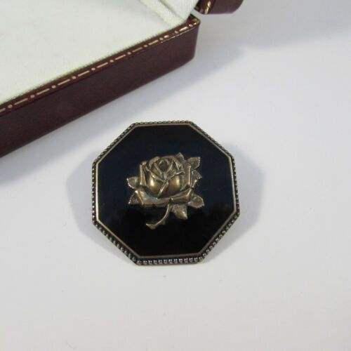 Vintage Edwardian Black Enamelled & Metal Rose Motif Mourning Brooch Pin
