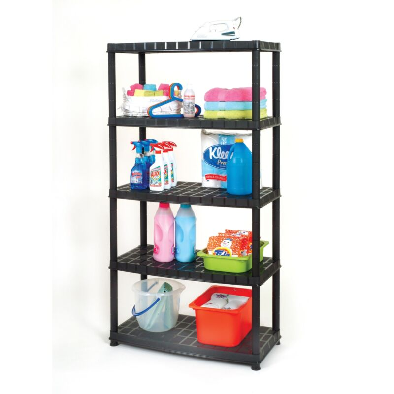 Ram Quality Products Optimo 16 inch 5 Tier Plastic Shelves, Black (Open Box)