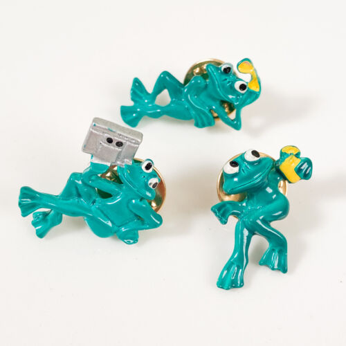 Set of 3 Enamel Pins Frogs Boombox Sunglasses Butterfly Clutch Backing Brooches