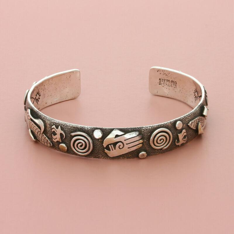 navajo sterling silver vintage scott skeets overlay cuff bracelet size 6.25in