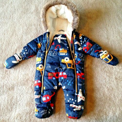 Baby Boy Snowsuit with Detachable Mittens Cosy Faux Fur Hood Detail 2 Zips 0-1M
