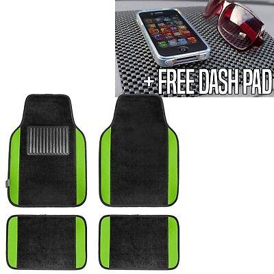 Green Car Mat - Carpet Floor Mats With Green Trim Fit Most Car, Truck, Suv or Van  Free Dash Pad