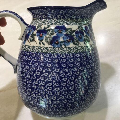 C.A. Polish Pottery 2 Qt Pitcher- Viola-New