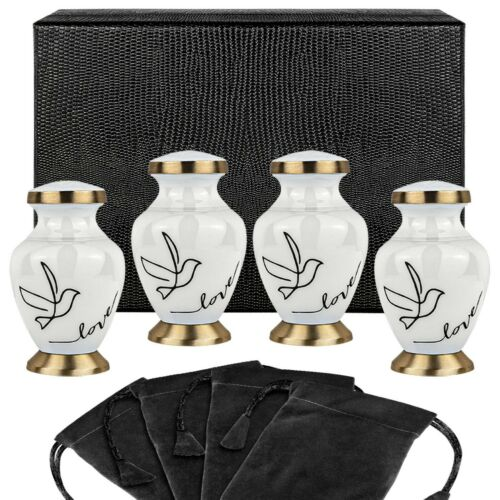 Modern Love White Small Keepsake Urns for Human Ashes - Set of 4 - w Case