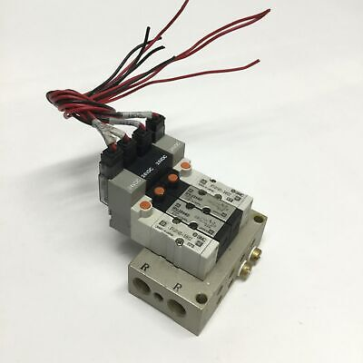 Smc Syj3140-5moz X2 Nvj3140 X2 5-port Solenoid Valves On Manifold 24vdc