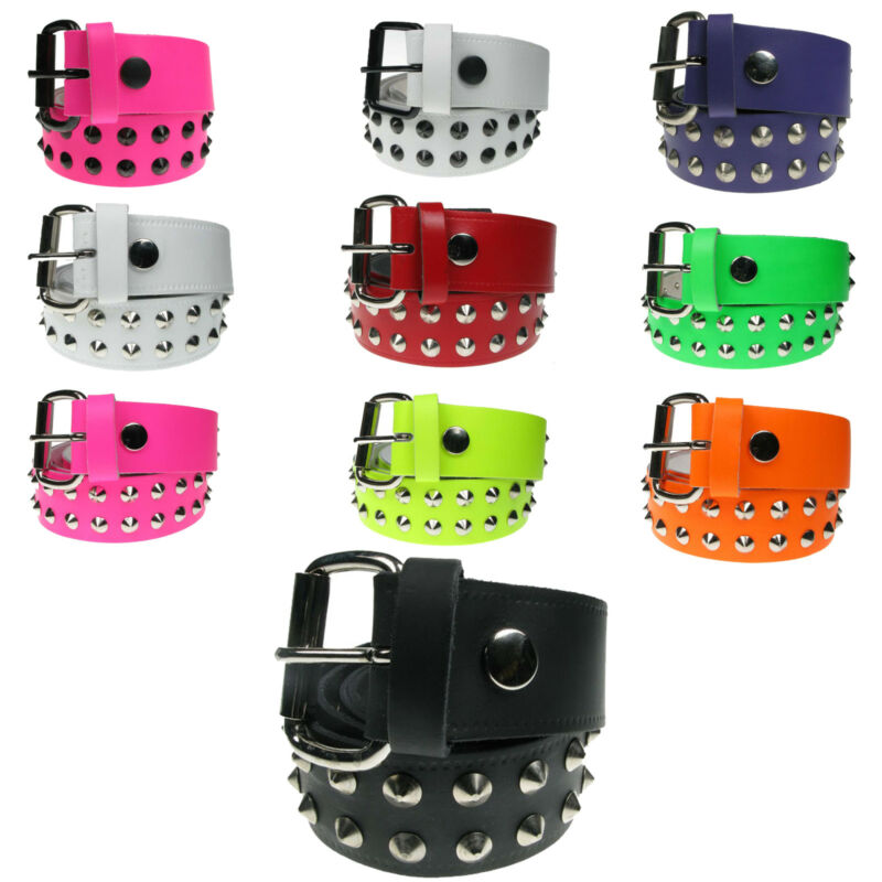 Leather Studded Belt 2 Row Pyramid Stud Black Fluorescent Emo Punk Gothic