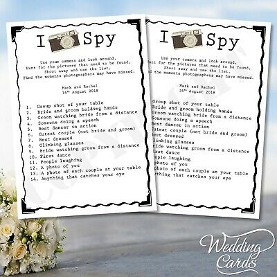 2 x Wedding I Spy Game Photo Kids Table Activity Favour Personalised Cards Child](Spy Baby Bridal)