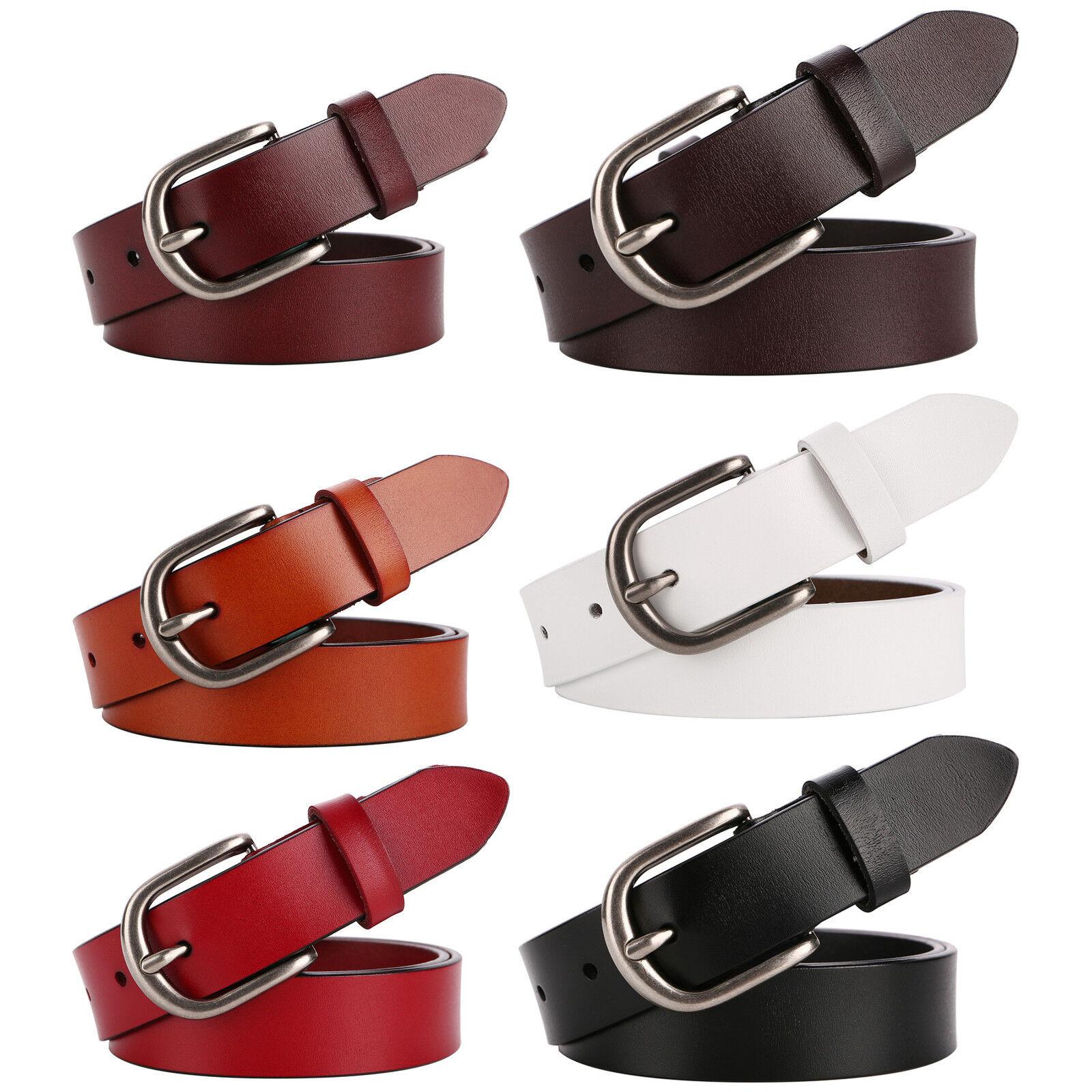 Women's and Teenage Girl's Genuine Leather Classic Metal Buckle Jean Belt Belts