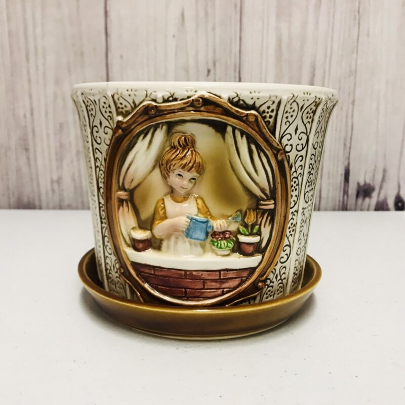 Sears Roebuck Mother In The Kitchen Ceramic Pot Planter With Catch Plate 1978