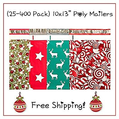 25-400 Pack - 10x13 Holiday Variety Designer Poly Mailers Free Shipping