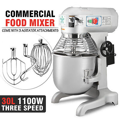Three Speed 30qt Commercial Dough Food Mixer Gear Driven Pizza Bakery 1.5hp Top
