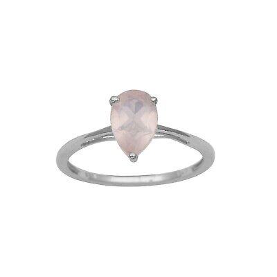 Pear Cut Rose Quartz Stone Sterling Silver Solitaire Stackable Band Women - Cut Rose Quartz Ring