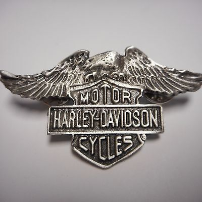 HARLEY DAVIDSON ****EAGLE WITH SHIELD  ***  PEWTER PIN  FANTASTIC OLD SCHOOL