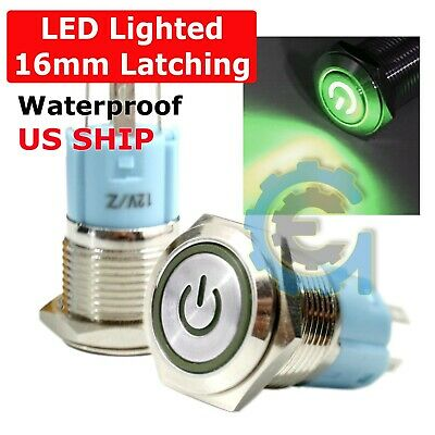 16mm 12v Latching Push Button Power Switch Silver Metal Led Waterproof