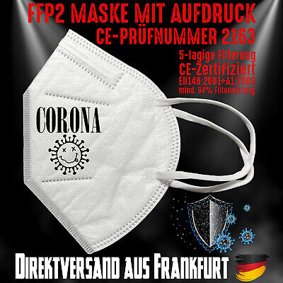 FFP2 Atemschutzmaske Mundschutz Mundmaske Zertifiziert CE 2163 Corona Band Marke