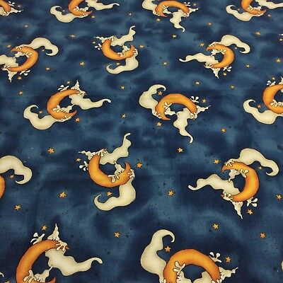 Blue Cotton Fabric Ghost Halloween 1.25 Yards Rebecca Carter Quick as Wink