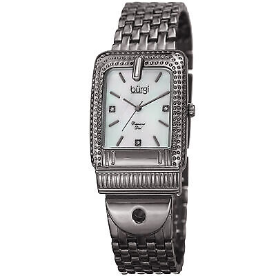 Women's Burgi BUR171GN Mother of Pearl Diamond Dial Buckle Design Bracelet Watch
