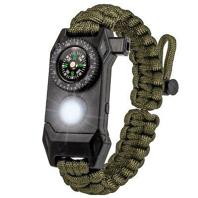 DealsMongers Paracord Bracelet Tactical Survival Gear Kit 6-IN-1 Compass LED USA